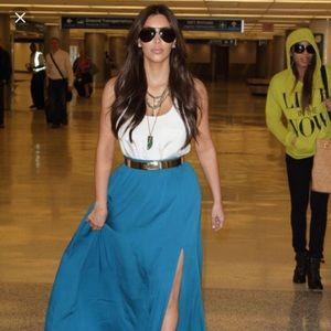 Rachel Zoe teal skirt seen on Kim k